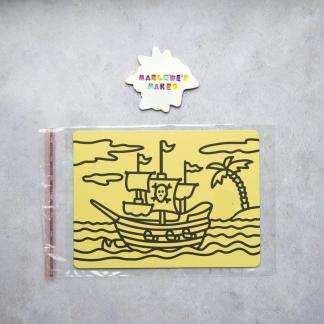 A5 Pirate Ship Take Home Sand Art Pack