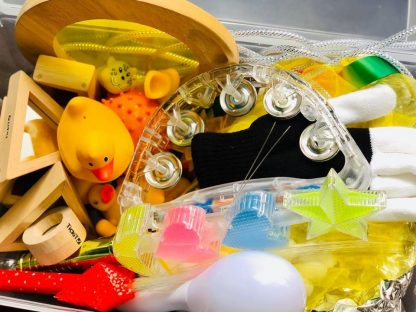 Close up of yellow sensory box