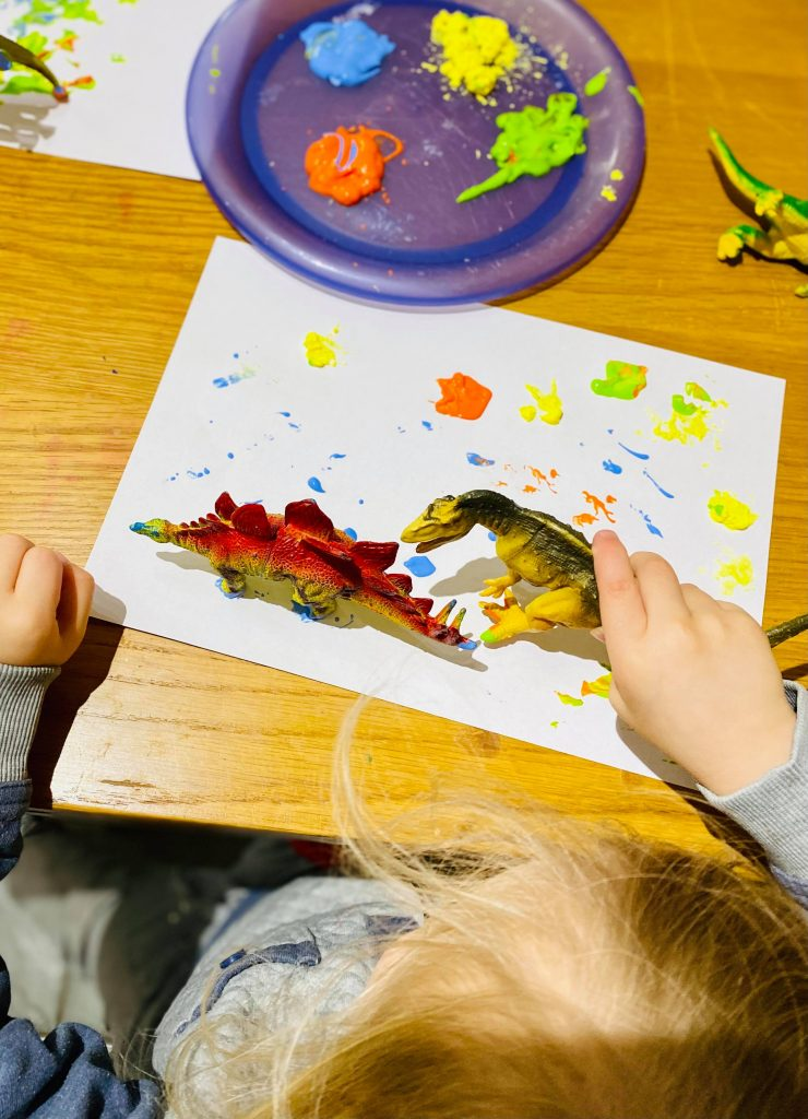Dinosaur footprint painting